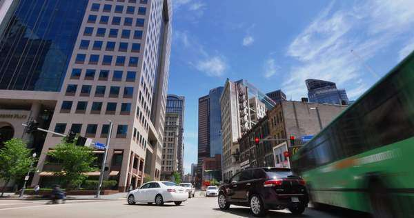 PITTSBURGH, PA - A time lapse shot of a busy intersection in downtown Pittsburgh, PA. Royalty-free stock video
