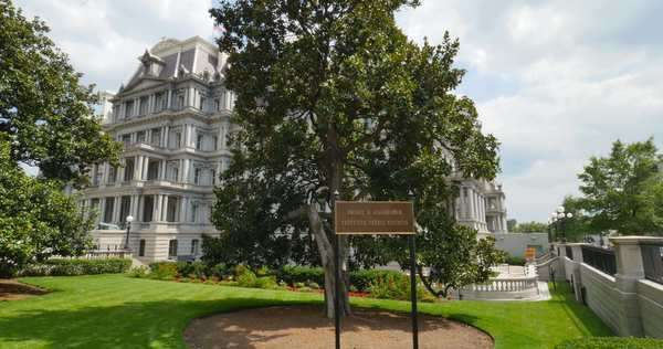 A daytime establishing shot of the Dwight D. Eisenhower Executive Office Building in Washington, D.C. Royalty-free stock video