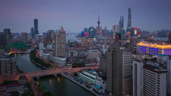 Timelapse day to night Shanghai cityscape. Rights-managed stock video