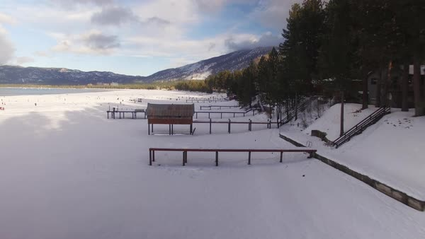 Lake Tahoe Winter Piers Aerial Rights-managed stock video
