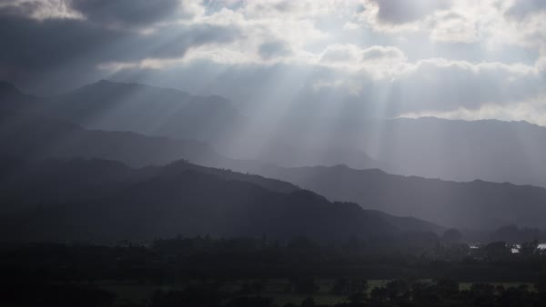 Hawaii light rays over Hanalei during sunset, timelapse. Rights-managed stock video