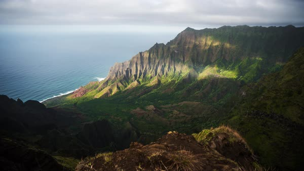 Kauai, Napali Coast,  dramatic valley motion controlled timelapse. Rights-managed stock video