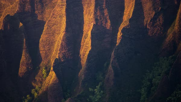 Kauai, Napali Coast,  sunset and shadow moving abstract timelapse. Rights-managed stock video
