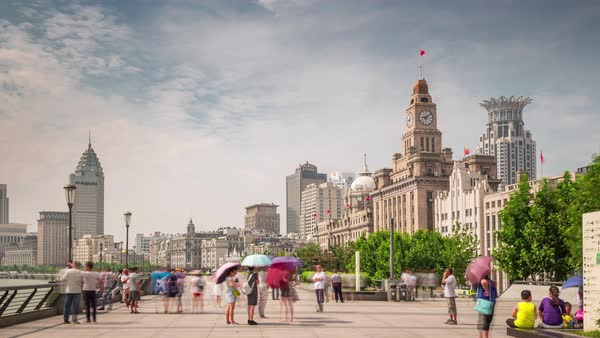 Day shanghai city bay customs house walk  panorama 4k time lapse china Royalty-free stock video