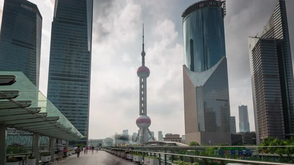 Shanghai city day downtown buildings walk panorama 4k time lapse china Royalty-free stock video