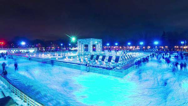 Night light Moscow famous Gorky park ice rink panorama timelapse, Russia Royalty-free stock video