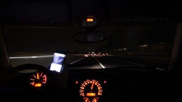 Texting And Playing With Smartphone While Driving Overtaking Dangerously At Night Inside Car Point Of View Stock Video Footage Dissolve