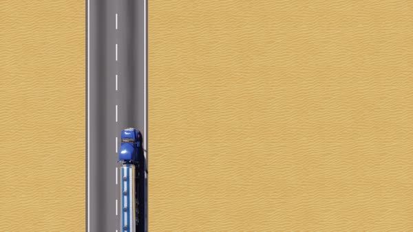 Aerial top view of freight truck with chrome gas or oil tank driving on  empty desert road and copy space for text  Minimalist trucking industry
