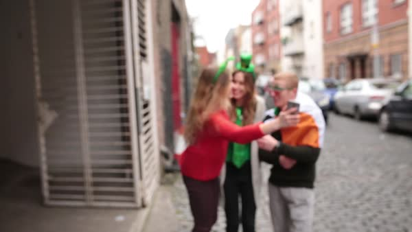 Wide shot of friends making a selfie on the street Royalty-free stock video