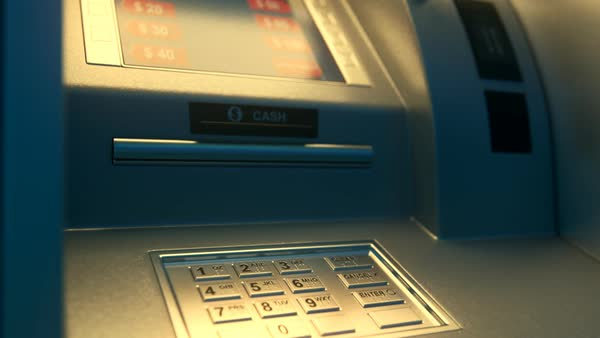 Atm Machine With Screen Displaying Withdrawal Amount Royalty-free stock video