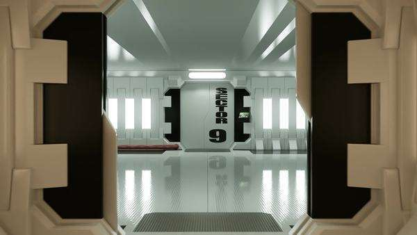 Futuristic Spaceship Door Opening And Camera Slowly