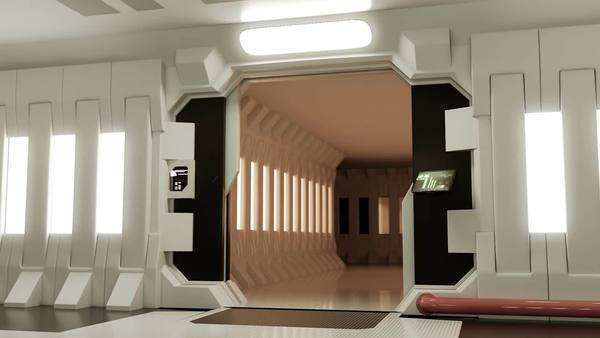 Futuristic Spaceship Door Opening And Camera Moving Slowly Royalty-free stock video