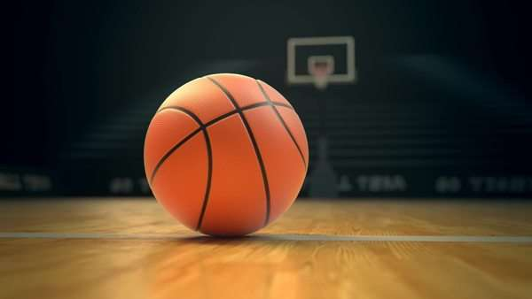 Panning camera over basketball on court Royalty-free stock video