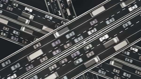Black and white animation looking straight down over three busy highways crossing each other. Royalty-free stock video