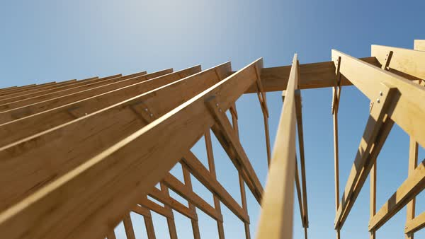 Construction Site Wooden Roof Structure Of Unfinished Building