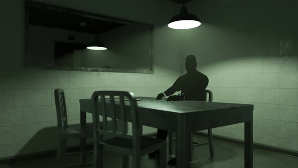 Time Lapse Animation Of An Interrogation Room With Dark