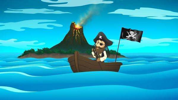 Pirate On Boat In Ocean With Active Volcano In Background Royalty-free stock video