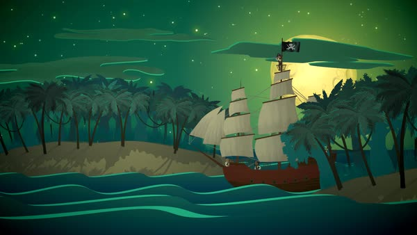 Pirate's Ship Sea With Small Islands In Background Royalty-free stock video