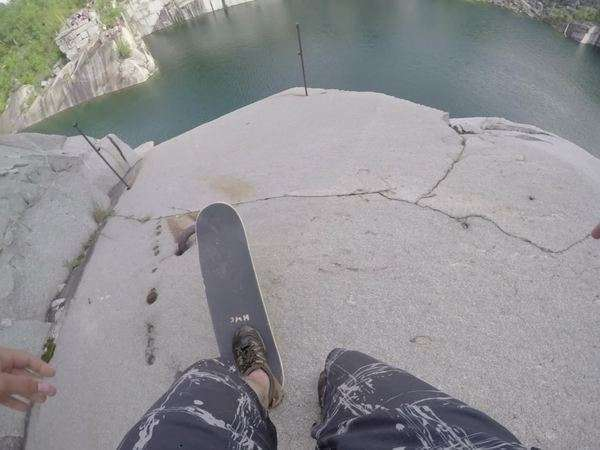 Point of view shot of a man skateboarding down on a cliff Royalty-free stock video