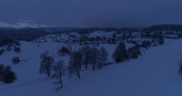 Aerial shot of a village in winter Royalty-free stock video