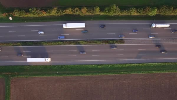 Drone shot of various vehicles moving on highway, Heilbronn, Baden-Wuerttemberg, Germany Royalty-free stock video