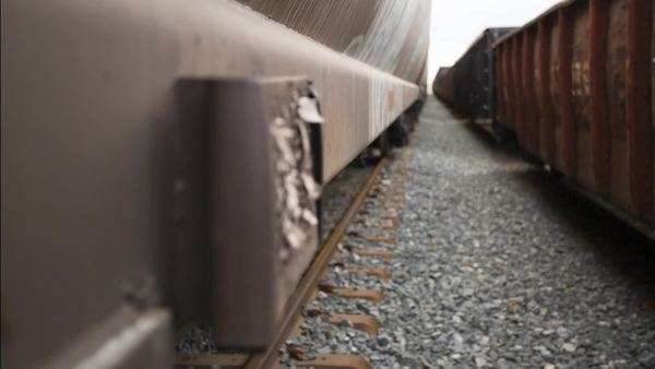 A pull-focus view of the side of a train cart Royalty-free stock video