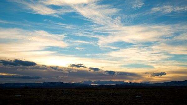 Sunset timelapse of cloud movement over plains captured south of Laramie, Wyoming Royalty-free stock video