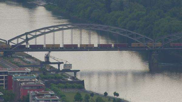 Frankfurt freight bridge Royalty-free stock video
