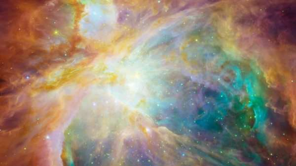 Orion nebula. Coloured composite infrared visible light image of the Orion nebula M42 Royalty-free stock video