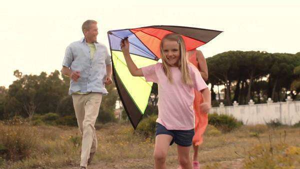 Slow motion of grandparents and granddaughter playing with kite in countryside. Royalty-free stock video