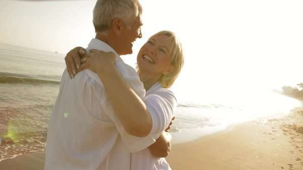 senior couple hugging on beach Royalty-free stock video