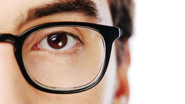 close up hipster man eye character series isolated on pure white background Royalty-free stock video