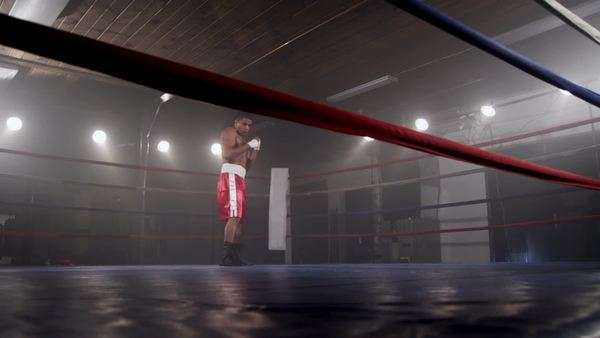 Boxer training in boxing ring Royalty-free stock video
