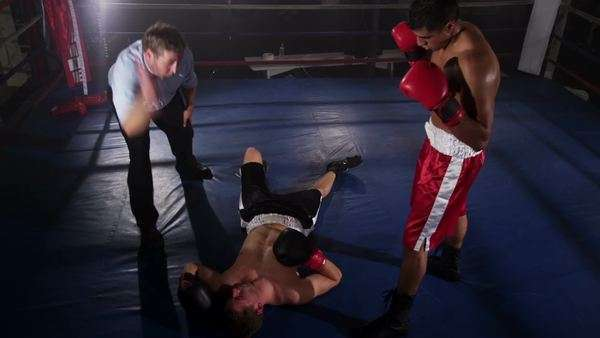 Boxer knocks out opponent Royalty-free stock video