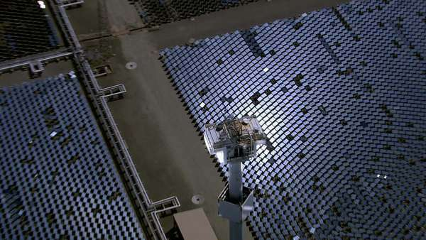Aerial shot of solar mirrors at power plant Royalty-free stock video