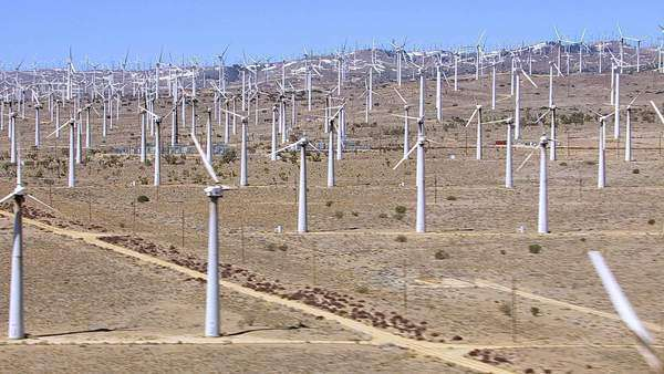 Hillside covered with non-moving wind turbines Royalty-free stock video