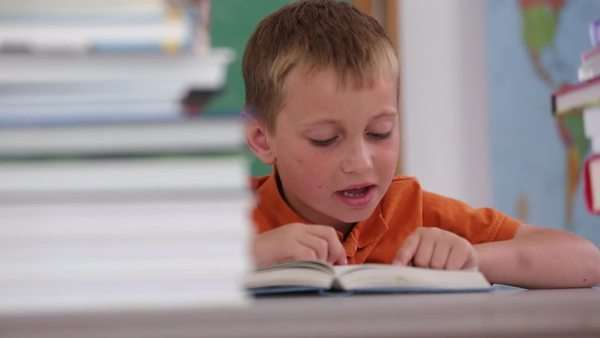 Child reading book at school Royalty-free stock video