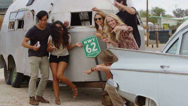 Group of young people on road trip Royalty-free stock video