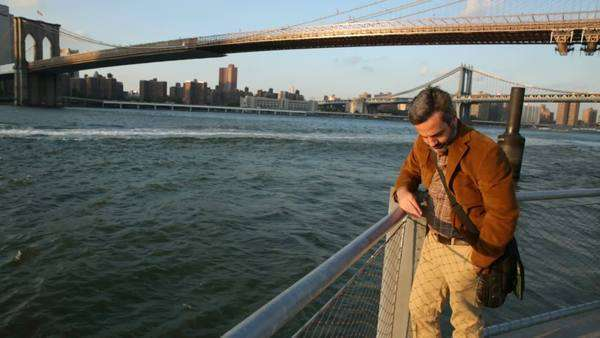 Man enjoying New York waterside view Royalty-free stock video