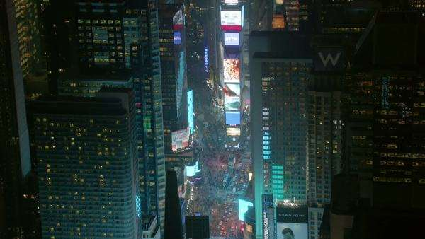 Aerial shot of Times Square, night Royalty-free stock video