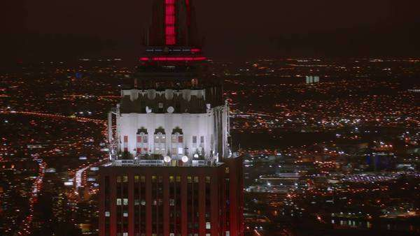 New York City, NY - October 26, 2012: Aerial shot of Empire State Building and New York City at night Royalty-free stock video