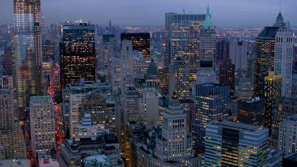 Manhattan financial district at dusk, aerial shot Royalty-free stock video