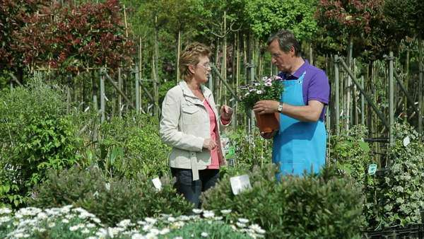Mature male handing over plant to female in garden centre Royalty-free stock video