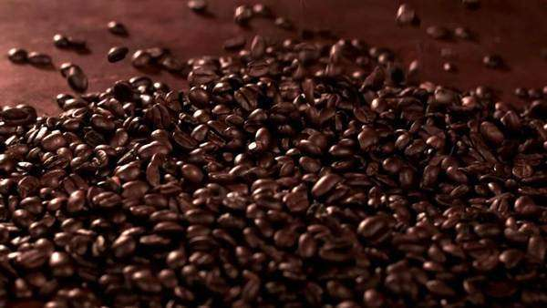 Coffee beans falling into pile, slow motion Royalty-free stock video