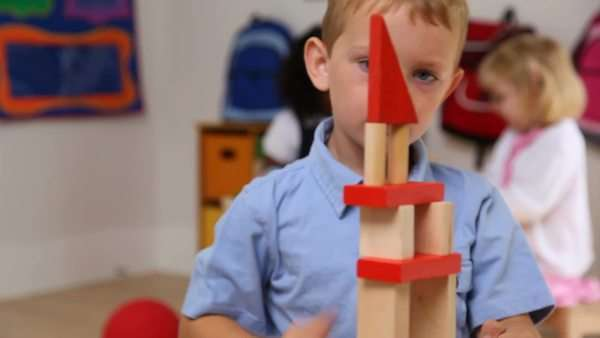 Young boy stacking blocks Royalty-free stock video
