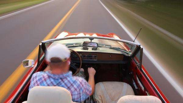 Man driving convertible, timelapse Royalty-free stock video