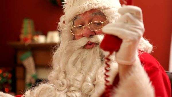 Santa Claus talking on telephone Royalty-free stock video