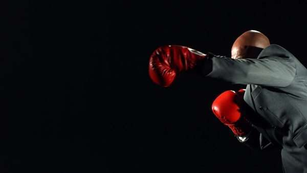 Boxing businessman, slow motion Royalty-free stock video