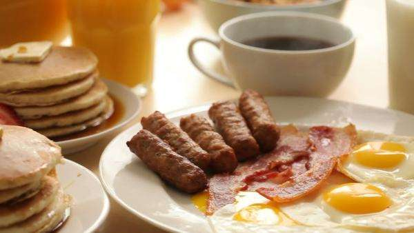 Breakfast foods, dolly movement Royalty-free stock video