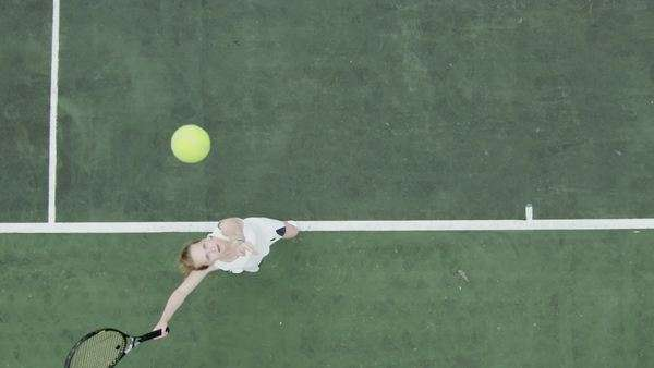 Tennis serve in slow motion from overhead angle Royalty-free stock video
